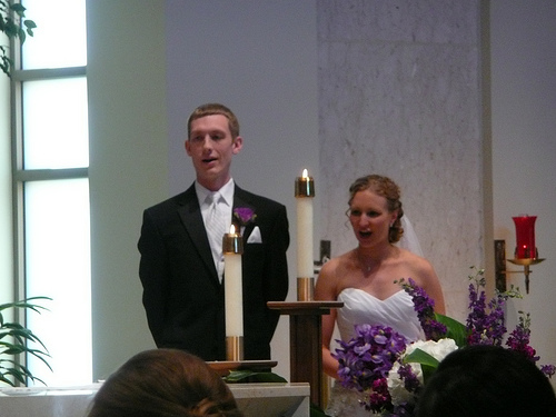 Tom and Tracy at their ceremony