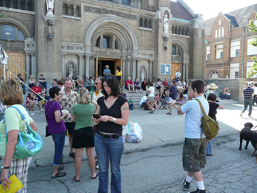 crowds in front of St. John Cantius Church