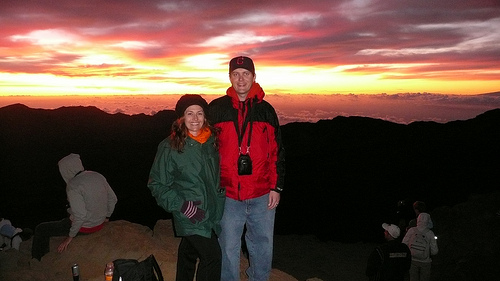 Jessica and Dan in front of a Maui sunrise