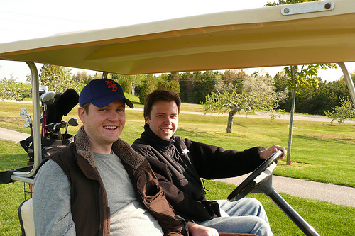 Dan and Rob on the golf cart