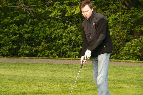 Rob golfing
