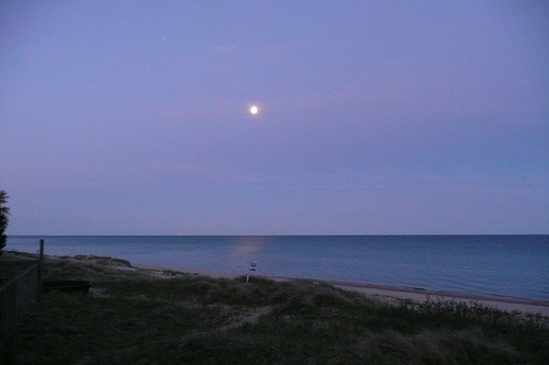 morning moonset over Lake Michigan