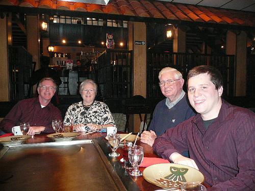 dinner at Benihana with Dad, Mom, Grandpa and Jim