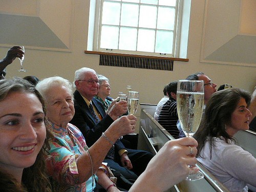 champagne toast to Ellen's graduation