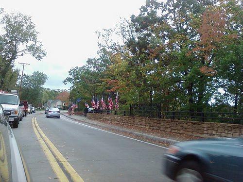 Flags on Rocky River Drive