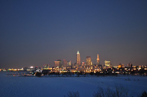 downtown Cleveland at twilight