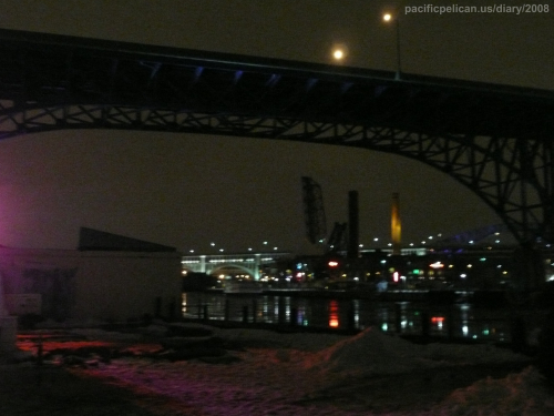 Cuyahoga River near Lake Erie in Ohio at Night