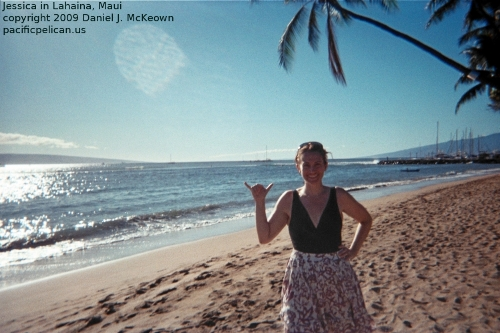 Jessica after surfing at Lahaina, Maui, 2009 by Daniel J. McKeown
