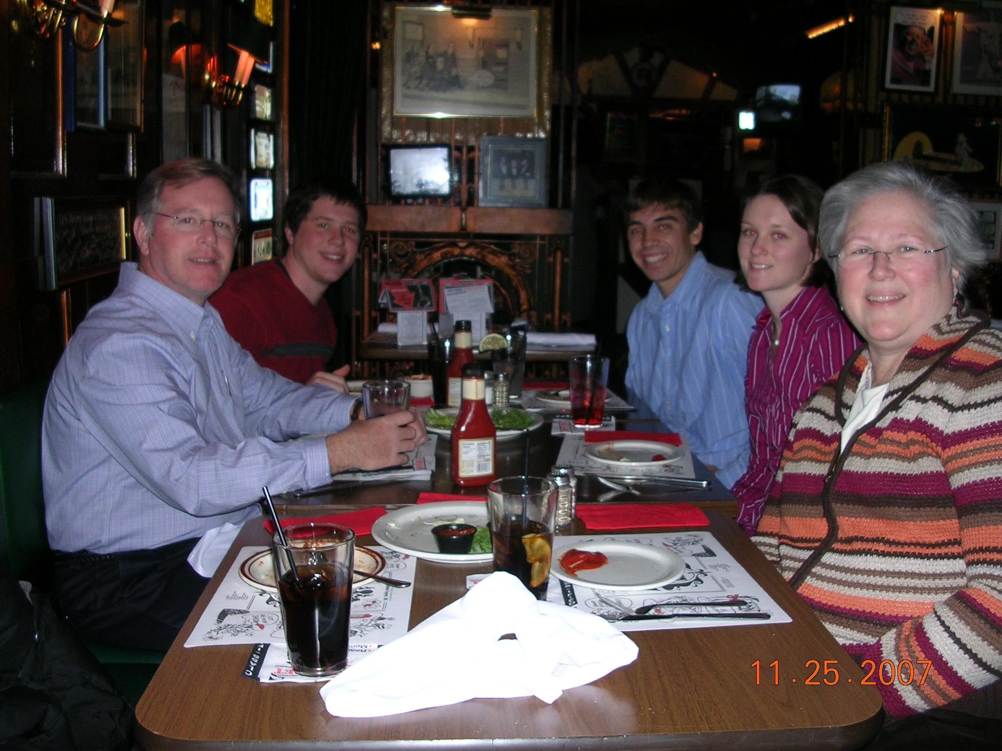 Dad, Jim, Andy, Ellen and Mom in Milwaukee, 11/25/2007 - safe house restaurant